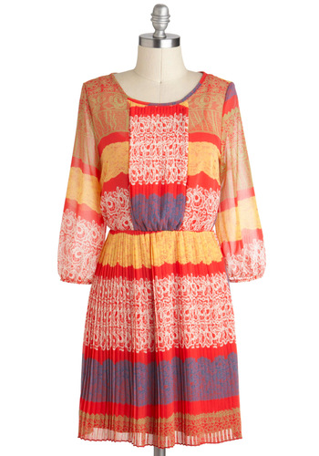 Lunch Alfresco Dress - Mid-length, Multi, Print, Pleats, Casual, A-line, 3/4 Sleeve, Boho