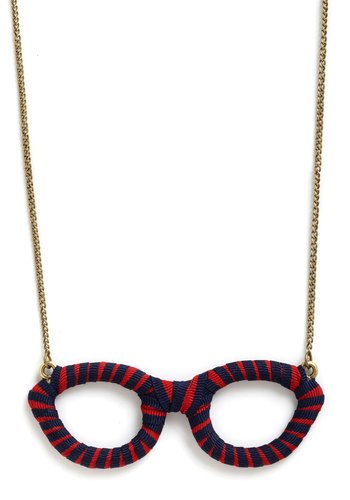 Brilliant Bookworm Necklace - Red, Blue, Gold, Stripes, Scholastic/Collegiate