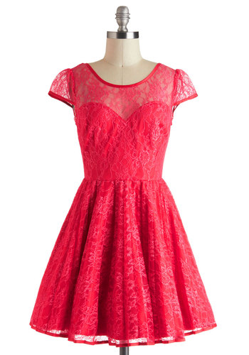 Raspberry Cocktails Dress - Lace, Party, Cap Sleeves, Sheer, Short, Solid, Backless, Fit & Flare, Holiday Party, Red