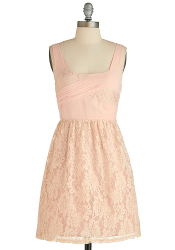 Sugared Rose Dress - Short, Sheer, Pink, Solid, Lace, Pleats, Daytime Party, A-line, Sleeveless, Spring, Scoop, Wedding, Bridesmaid, Graduation