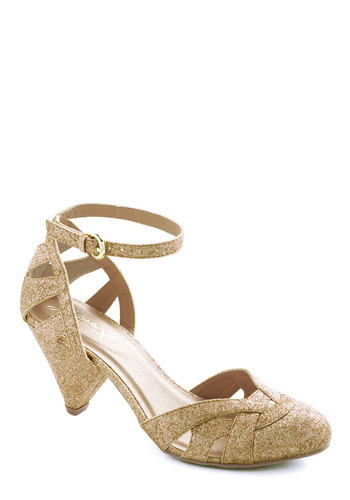 Cinnamon Scones Heel in Sugar - Mid, Gold, Solid, Glitter, Holiday Party, Exclusives, Formal