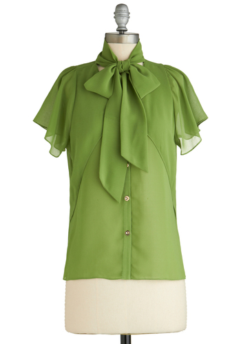 Fresh and Fluttery Top - Mid-length, Sheer, Green, Solid, Buttons, Tie Neck, Work, Short Sleeves, Exclusives, Pinup, Green, Short Sleeve