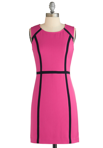 Going On Contour Dress - Mid-length, Pink, Black, Party, 60s, Shift, Sleeveless, Mod, Work, Summer
