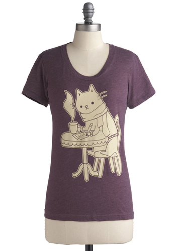 Cat Cafe Tee - Print with Animals, Casual, Short Sleeves, Mid-length, Best Seller, Purple, Travel, Cats, Good, Scoop, Purple, Short Sleeve
