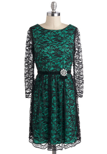 Ivy Got a Crush Dress - Black, Lace, A-line, Long Sleeve, Sheer, Rhinestones, Green, Holiday Party, Formal