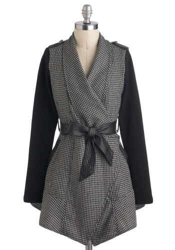 Jenn's Structured Style Coat - Faux Leather, Mid-length, Black, Grey, White, Pockets, Belted, Vintage Inspired, Long Sleeve, Fall, 2, Tis the Season Sale, Houndstooth