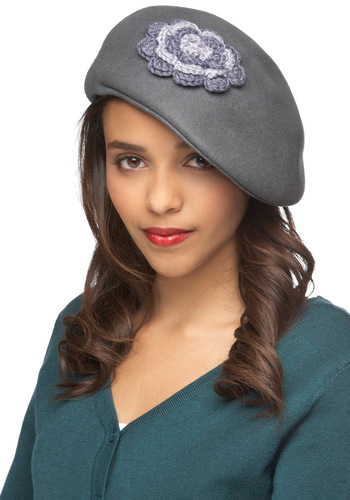 Above Par Hat - Grey, Solid, Flower, Knitted, French / Victorian, Casual, Daytime Party, Vintage Inspired, 30s