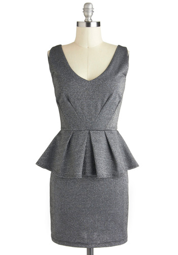 Starlit Evening Dress - Grey, Solid, Peplum, Sleeveless, Short, Silver, Pleats, Party