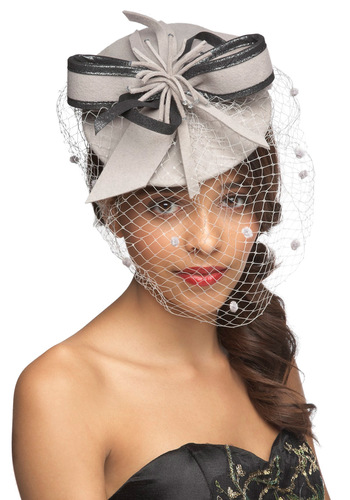 Tea with the Queen Fascinator - Grey, Solid, Bows, Formal, Wedding, Party, Holiday Party, Vintage Inspired, 40s, 50s, Statement