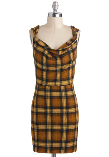 Throwback to the Future Dress - Plaid, Casual, Sleeveless, Fall, Short, Multi, Brown, Vintage Inspired, Sheath / Shift, Daytime Party, 90s
