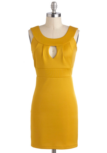 Honey Outlook Dress - Yellow, Solid, Cutout, Sheath / Shift, Sleeveless, Short, Backless, Party, Girls Night Out