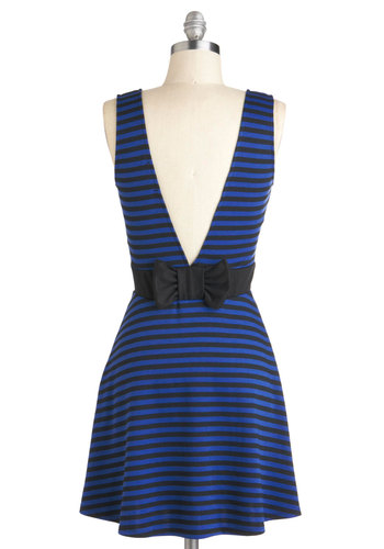 Lunch Update Dress - Stripes, Bows, Casual, A-line, Tank top (2 thick straps), Short, Blue, Black, Backless