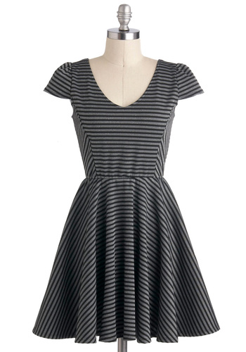 Dance With Dew Dress - Stripes, Glitter, A-line, Cap Sleeves, Short, Black, Silver, Casual, V Neck