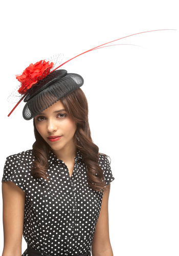Dramatic Entrance Fascinator - Black, Red, Flower, Formal, Wedding, Party, Vintage Inspired, 40s, 50s, Statement