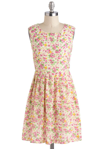 One Fleur All Dress - Multi, Floral, Pleats, Casual, A-line, Sleeveless, Short, Buttons