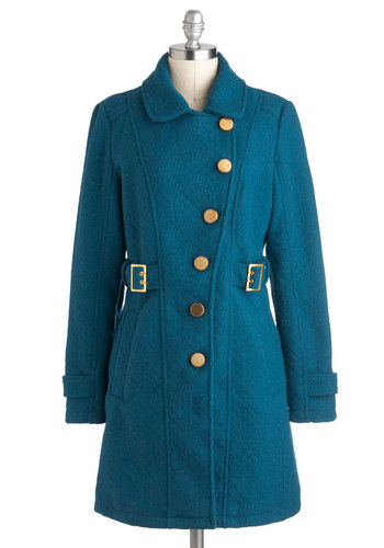 Tokens of My Affection Coat - Long, Blue, Solid, Buttons, Vintage Inspired, Long Sleeve, Winter, 4, Pockets, Belted