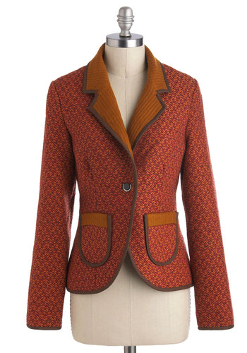 Apple Cinnamon Blazer - Orange, Brown, Buttons, Pockets, Menswear Inspired, Long Sleeve, Mid-length, Work, Red