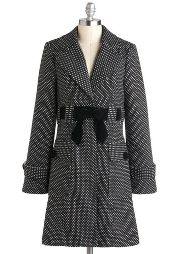 Kinetic the Dots Coat - Black, White, Polka Dots, Pockets, Long Sleeve, Belted, Long, 2, Party, Vintage Inspired, Winter, Tis the Season Sale