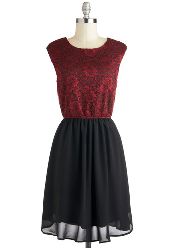 Haute Stuff Dress - Red, Lace, A-line, Cap Sleeves, Mid-length, Black, Twofer, Party, Holiday Party