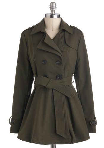 Wear Everywhere Coat - Long, Green, Solid, Buttons, Belted, Military, Vintage Inspired, A-line, Long Sleeve, Fall, 2, Pockets, Tis the Season Sale