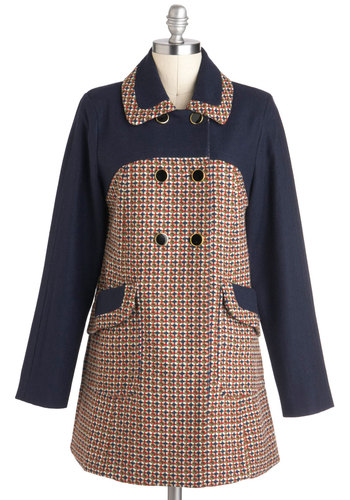 My Tweed Lady Coat - Blue, Red, Brown, White, Buttons, Pockets, Long Sleeve, Winter, 3, Long