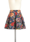 Darling Daydreams Skirt - Floral, Casual, High Waist, Cotton, Denim, Short, Multi, Pleats, Tis the Season Sale, Spring