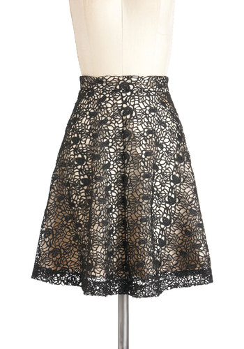 Do Trellis Skirt - Black, Tan / Cream, Lace, A-line, Holiday Party, Mid-length