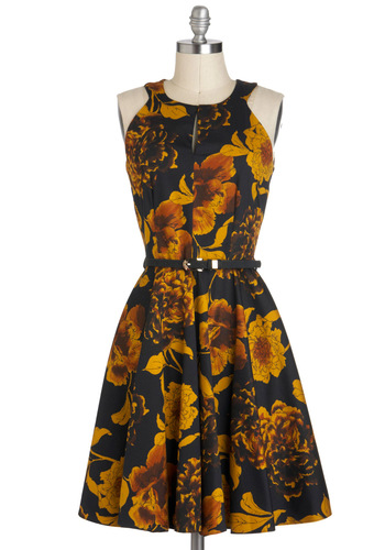Golds in Mind Dress - A-line, Mid-length, Orange, Yellow, Black, Floral, Belted, Party, Cocktail, Racerback, Fall, Tis the Season Sale, Cotton, Top Rated