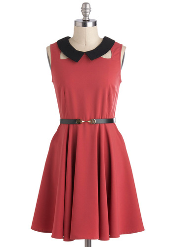 Sanguine Outlook Dress - Pink, Black, Belted, Vintage Inspired, Sleeveless, Collared, Mid-length, Cutout, Pockets, Party, Work, Top Rated