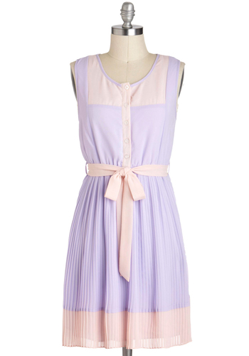 Urban Garden Party Dress in Lavender - Purple, Pink, Buttons, Pleats, Belted, Casual, Pastel, Colorblocking, A-line, Sleeveless, Spring, Mid-length, Tis the Season Sale, Solid, Summer
