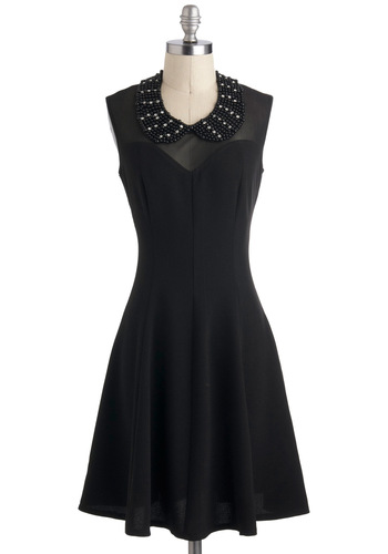 Peter Panoply of Style Dress - Black, Solid, Beads, Party, Sleeveless, Sheer, Mid-length, A-line, Peter Pan Collar, Collared, Holiday Party, Tis the Season Sale