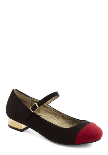 Double-Dip Heel - Black, Red, Low, Mary Jane, Colorblocking, Party, Casual, Vintage Inspired