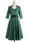 Pine for the Past Dress - Green, Black, Polka Dots, Belted, A-line, Cotton, Long, Cocktail, 3/4 Sleeve, Party, Vintage Inspired, 50s