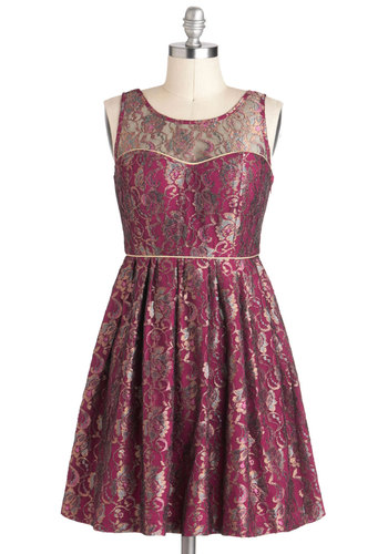 Days of Vine and Roses Dress - Gold, Lace, Party, A-line, Sleeveless, Mid-length, Pink, Holiday Party