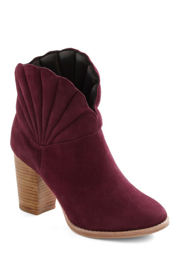 Glam Shell Bootie - Red, Solid, Mid, Scallops, Casual, Fall