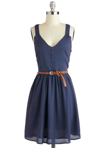 A Close Racerback Dress - Blue, Solid, Buttons, Belted, Casual, A-line, Racerback, V Neck, Mid-length