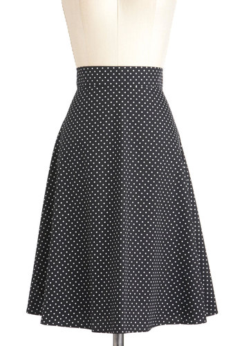 Dots to Talk About Skirt - Black, White, Polka Dots, A-line, Cotton, Long, Work, Casual, Vintage Inspired