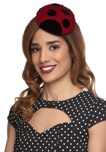 Ladybird is the Word Hat - Red, Black, Print with Animals, Kawaii, Party, Daytime Party, Vintage Inspired, Statement, International Designer