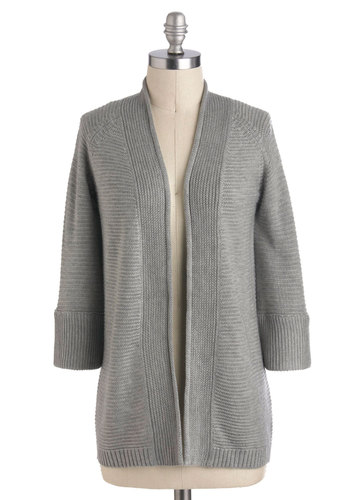 Cloud Cover Up Cardigan - Mid-length, Grey, Solid, Casual, 3/4 Sleeve