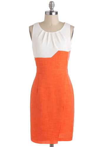 Conference in Rio Dress - Sheer, Mid-length, Orange, White, Work, Colorblocking, Shift, Sleeveless, Tis the Season Sale