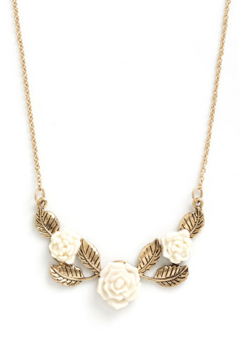 Beauty Garland Necklace - Flower, Gold, White, Fairytale, Tis the Season Sale