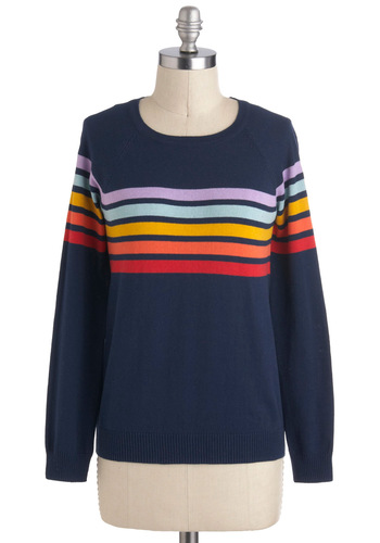 Chasing Rainbows Sweater - Blue, Stripes, Long Sleeve, Cotton, Mid-length, Multi, Tis the Season Sale, Crew, Travel