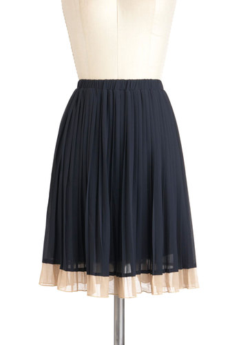 Follow Borders Skirt - Mid-length, Blue, Tan / Cream, Solid, Pleats, Work, Scholastic/Collegiate, A-line