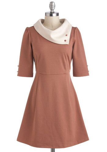 Parisian Port Dress in Chamoisee by Miss Patina - Tan / Cream, Buttons, Work, Vintage Inspired, 60s, Mod, A-line, 3/4 Sleeve, Mid-length, Tan, French / Victorian, Variation, International Designer