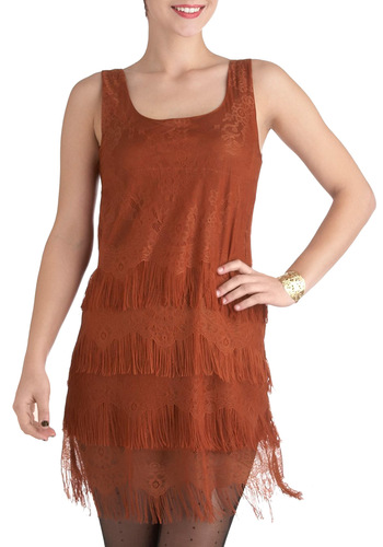 You Frill Me Dress - Solid, Fringed, Shift, Tank top (2 thick straps), Mid-length, Orange, Lace, Party, 20s, Cocktail