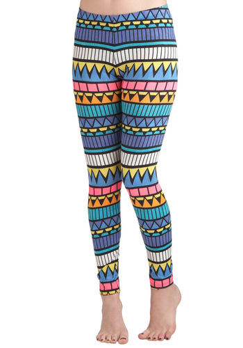 Rockin' Modern Life Leggings - Multi, Orange, Yellow, Blue, Pink, White, Print, Skinny