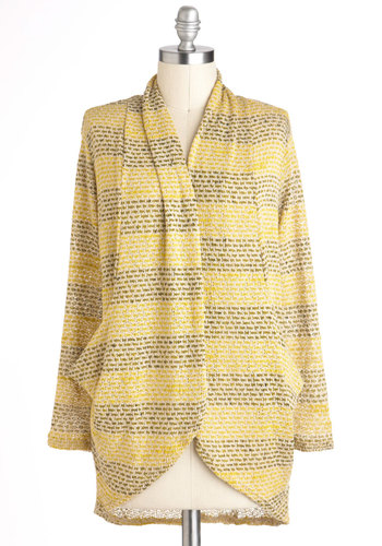 When Life Gives You Lemongrass Cardigan - Yellow, Grey, Stripes, Casual, Long Sleeve, Sheer, Mid-length, Travel