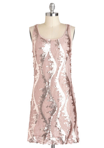 Changing Quartz Dress - Pink, Lace, Sequins, Party, Shift, Sleeveless, Mid-length, Holiday Party, Vintage Inspired, 20s, Luxe