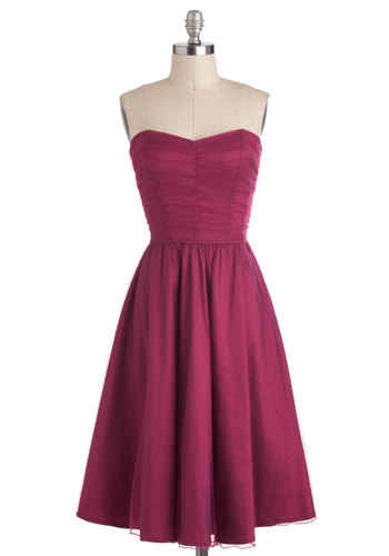 Rose Petal Perfection Dress - Red, Solid, Wedding, Cocktail, A-line, Strapless, Sweetheart, Holiday Party, Vintage Inspired, Long