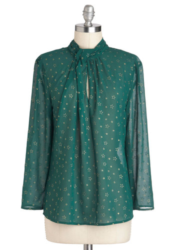 Reach for the Stars Top - Mid-length, Green, Gold, Print, Pleats, Work, Girls Night Out, Holiday Party, Long Sleeve, Sheer, Cutout